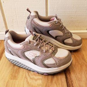 SKECHERS Shape Ups Gray Pink Toning Walking Shoes